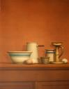 WILLIAM BAILEY - STILL LIFE WITH EGGS, CANDELSTICKS AND BOWL